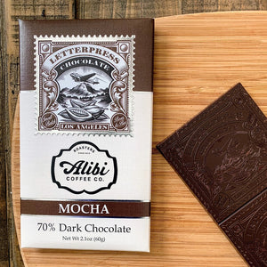 LetterPress Mocha Craft Chocolate Bar with its packaging