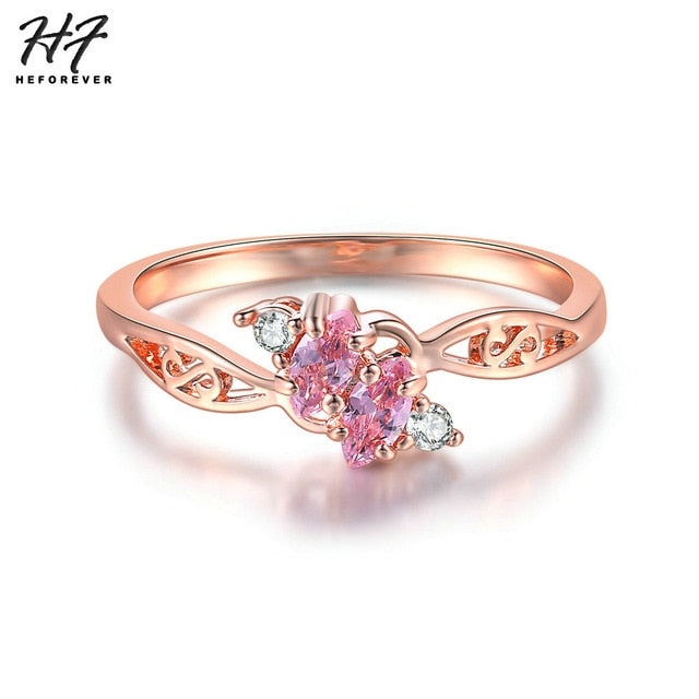 Delicate New Design Wedding Rings For Women Hollowed Out Rose White