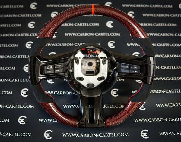 2013 ford mustang carbon fiber custom made steering wheel