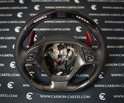 carbon fiber custom made steering wheel with led lights and lcd screen with red paddle shifters
