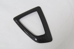 carbon fiber gear shifter cover on white background