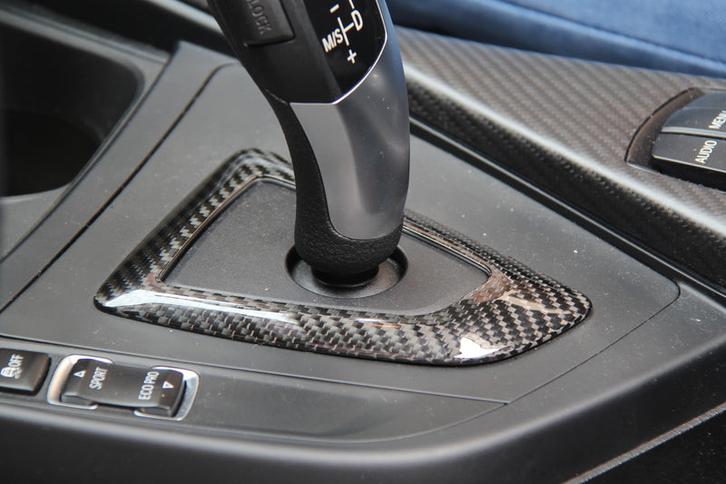installed carbon fiber gear shifter cover