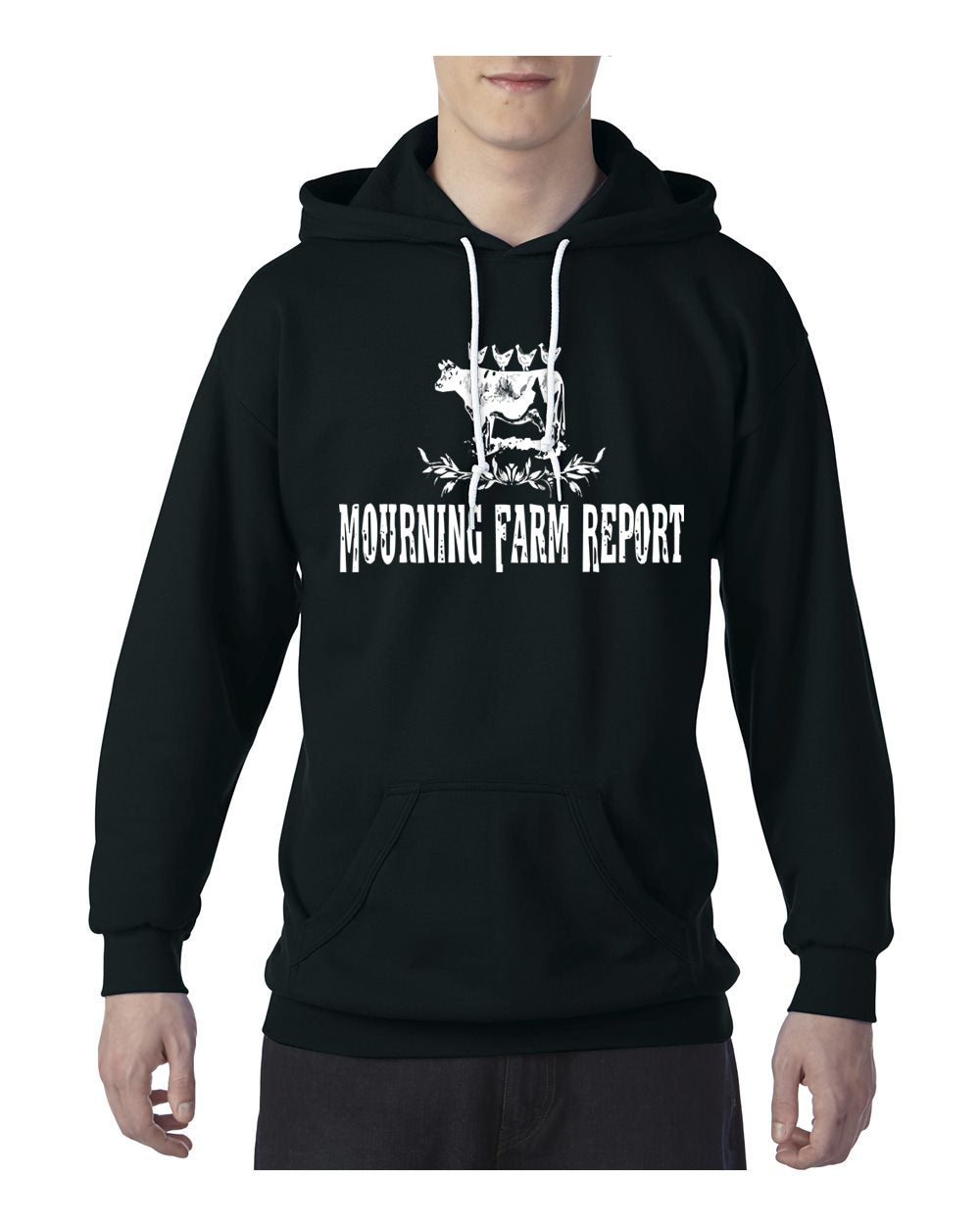Mourning Farm Report Cow Pocket Hoodie