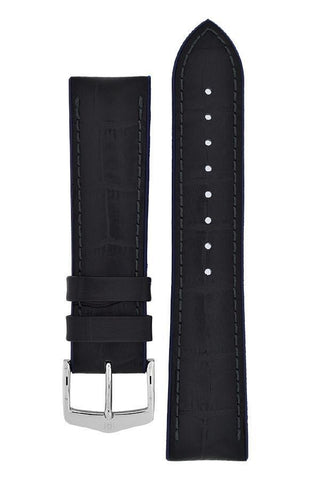 Hirsch ANDY Alligator Embossed Performance Watch Strap in BLACK / BLUE - Johny Watches
