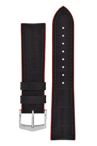 Hirsch ANDY Alligator Embossed Performance Watch Strap in BLACK / RED - Johny Watches