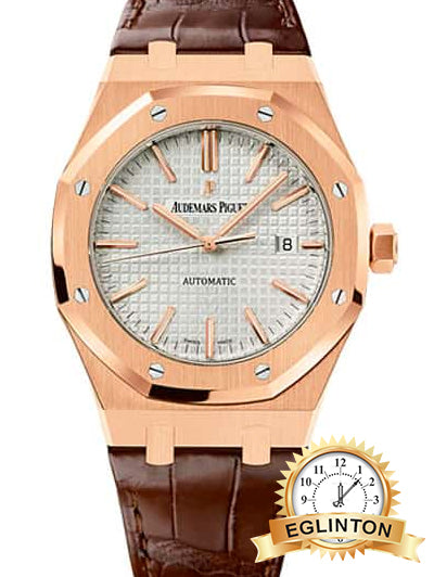 Audemars Piguet Royal Oak Self Winding Silver-toned dial 41mm Rose Gold Leather Strap Watch 15400OR.OO.D088CR.01 - Johny Watches - New and used Rolex watches in toronto
