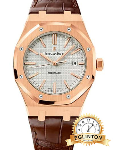 Audemars Piguet Royal Oak Self Winding Silver-toned dial 41mm Rose Gold Leather Strap Watch 15400OR.OO.D088CR.01 (By Appointment Only) - Johny Watches - New and used Rolex watches in toronto