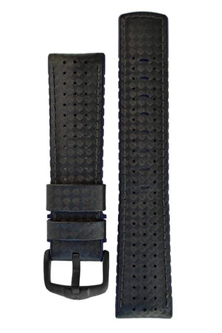 Hirsch AYRTON Carbon Embossed Performance Watch Strap in BLACK / BLUE - Johny Watches - New and used Rolex watches in toronto