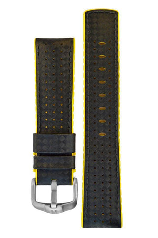 Hirsch AYRTON Carbon Embossed Performance Watch Strap in BLACK / YELLOW - Johny Watches