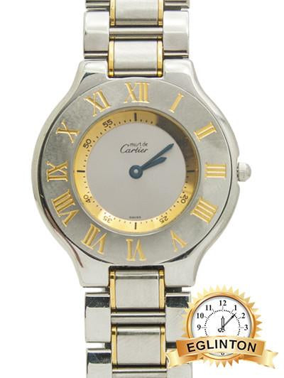 CARTIER MUST DE 21 MEN'S 18K GOLD STEEL WATCH 1330 - Johny Watches - New and used Rolex watches in toronto