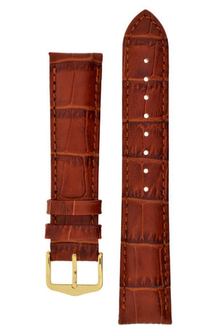 Hirsch DUKE Alligator Embossed Leather Watch Strap in GOLD BROWN - Johny Watches