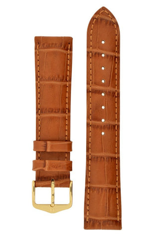 Hirsch DUKE Alligator Embossed Leather Watch Strap in HONEY - Johny Watches