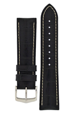 Hirsch GEORGE Alligator Embossed Performance Watch Strap in BLACK/WHITE - Johny Watches - New and used Rolex watches in toronto