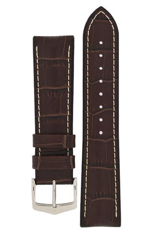 Hirsch GEORGE Alligator Embossed Performance Watch Strap in BROWN - Johny Watches - New and used Rolex watches in toronto