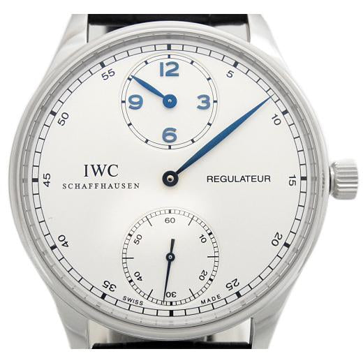 IWC Portuguese regulator IW 544401 men's hand-wound scale back Silver Dial Box & Paper - Johny Watches