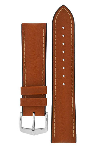 Hirsch JAMES Calf Leather Performance Watch Strap in GOLD BROWN - Johny Watches