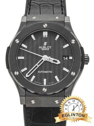 HUBLOT Classic Fusion Black Carbon Fiber Dial Automatic 45 MM Black Leather W/ Box & Papers - Johny Watches - New and used Rolex watches in toronto