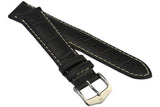Hirsch MODENA Alligator Embossed Leather Watch Strap in BLACK - Johny Watches - New and used Rolex watches in toronto