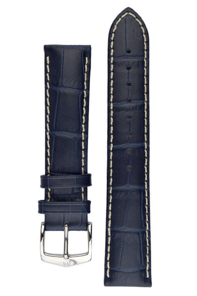 Hirsch MODENA Alligator Embossed Leather Watch Strap in BLUE - Johny Watches