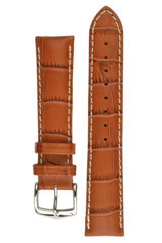 Hirsch MODENA Alligator Embossed Leather Watch Strap in HONEY - Johny Watches - New and used Rolex watches in toronto