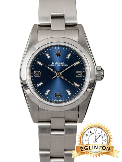 ROLEX LADIES OYSTER PERPETUAL 76080 BLUE DIAL - Johny Watches