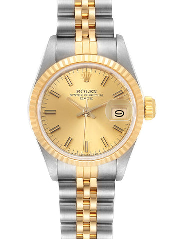 Rolex Date Steel Yellow Gold Fluted Bezel Ladies Watch 69173 - Johny Watches