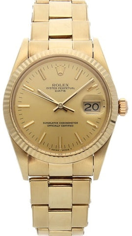 ROLEX OYSTER PERPETUAL DATE 15037 YELLOW GOLD FULL SET - Johny Watches - New and used Rolex watches in toronto