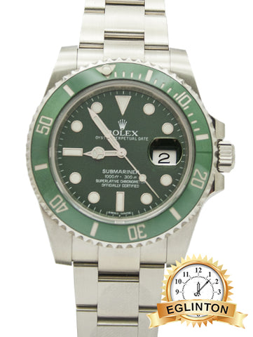 "Rolex Submariner Steel Automatic Green Dial Men's Watch - 116610LV ""2017"" - Johny Watches - New and used Rolex watches in toronto"