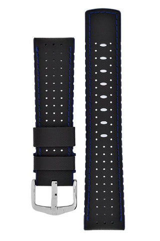 Hirsch ROBBY Sailcloth Effect Performance Watch Strap in BLACK / BLUE - Johny Watches - New and used Rolex watches in toronto