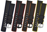 Hirsch ROBBY Sailcloth Effect Performance Watch Strap in BLACK / YELLOW - Johny Watches - New and used Rolex watches in toronto
