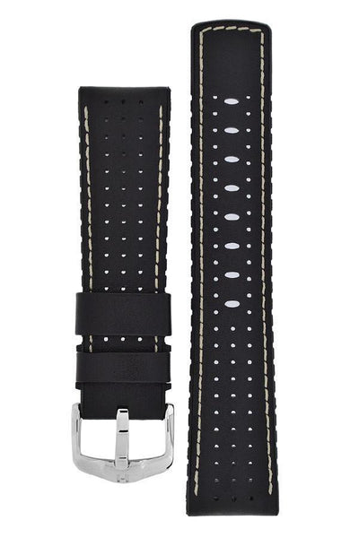Hirsch TIGER Perforated Leather Performance Watch Strap in BLACK - Johny Watches