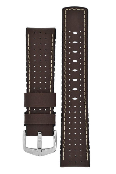 Hirsch TIGER Perforated Leather Performance Watch Strap in BROWN - Johny Watches - New and used Rolex watches in toronto