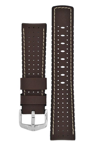 Hirsch TIGER Perforated Leather Performance Watch Strap in BROWN - Johny Watches