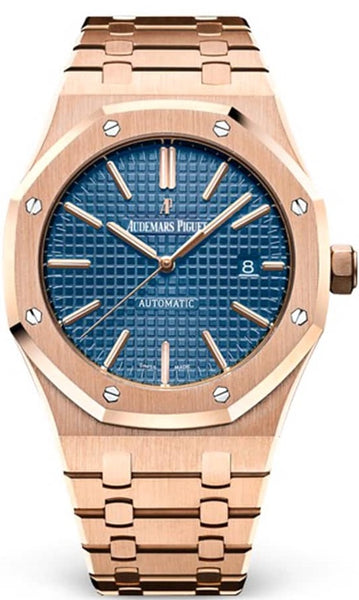 Audemars Piguet Royal Oak Self Winding with Blue Dial 41mm 18k Rose Gold Watch 15400OR.OO.1220OR.03 - Johny Watches - New and used Rolex watches in toronto