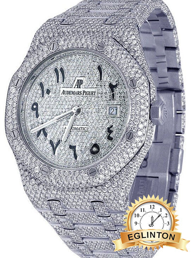Audemars Piguet Mens Royal Oak 41MM Steel VS Arabic Dial Diamond Watch All VVS Over 25ct Diamonds - Johny Watches - New and used Rolex watches in toronto