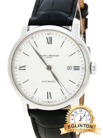Baume And Mercier Silver White Stainless Steel Classima 65679 Men's Wristwatch 42 mm - Johny Watches