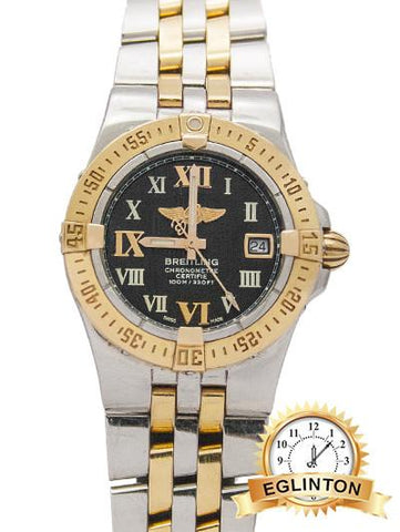 Breitling  Galactic 30 Two Tone with Black Dial - Johny Watches - New and used Rolex watches in toronto