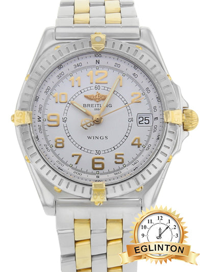 Breitling Wings Automatic White Dial Two-Tone 18K Gold & Steel B10050 - Johny Watches - New and used Rolex watches in toronto