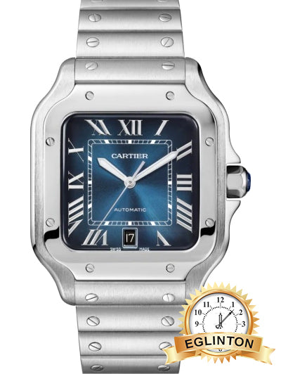 Cartier Santos stainless steel Blue dial - Johny Watches - New and used Rolex watches in toronto