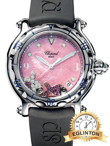 Chopard Happy Beach in Steel on Pink Rubber Strap with Pink Mother of Pearl Dial - Johny Watches - New and used Rolex watches in toronto