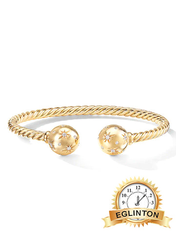 Solari Bead Bracelet with Diamonds in 18K Gold - Johny Watches