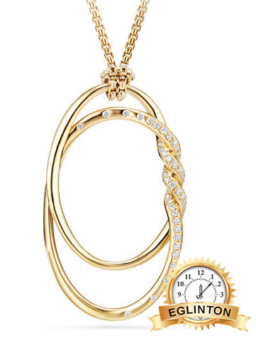 DAVID YURMAN 47mm Continuance 18k Gold Pendant Necklace With Diamonds In White/gold - Johny Watches