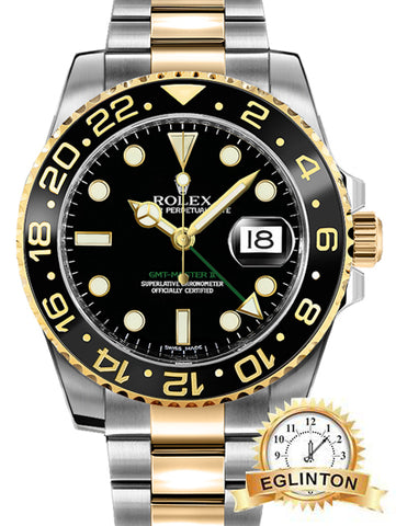 Rolex GMT-Master II Yellow Gold/Steel Black Dial & Ceramic Bezel Oyster Bracelet 116713LN - Johny Watches