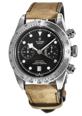 Black Bay Chrono Black Dial Brown Leather Strap Men's Watch - Johny Watches - New and used Rolex watches in toronto
