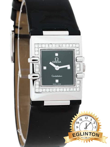 Omega Black Stainless Steel Patent Leather Diamond Constellation Quadra 895.1230 Women's Wristwatch 19 mm - Johny Watches
