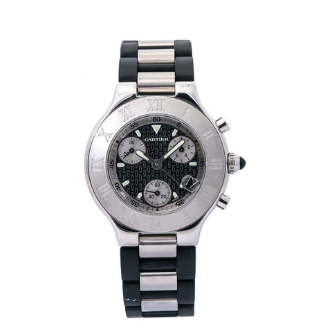 CARTIER Must 21 Chronograph Quartz Black Dial Men's Watch - Johny Watches - New and used Rolex watches in toronto
