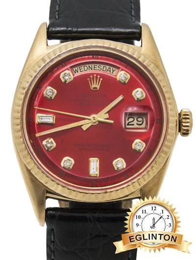Rolex President 18k Yellow Day-date Diamond Red dial - Johny Watches - New and used Rolex watches in toronto
