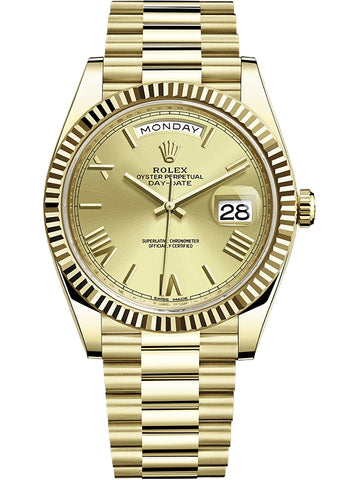 "Rolex Day-Date 40 Yellow Gold Roman Champagne Dial President Watch 228238 ""2017"" - Johny Watches - New and used Rolex watches in toronto"