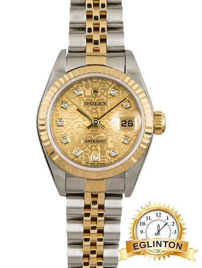 "ROLEX LADY DATEJUST 178273 31mm CHAMPAGNE JUBILEE DIAMOND DIAL ""2015"" - Johny Watches"