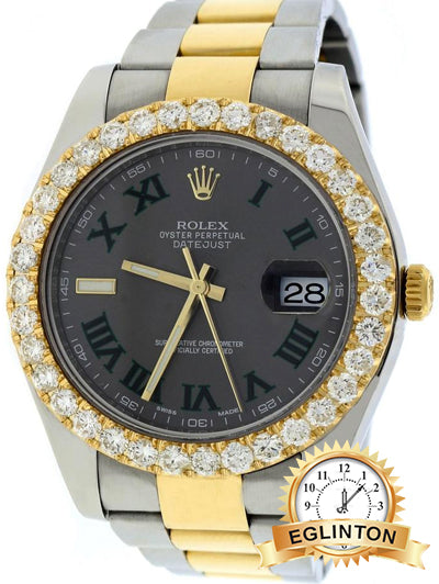 Rolex Green Slate Dial Roman Datejust Ii 2-tone 41mm 116333 - Johny Watches - New and used Rolex watches in toronto
